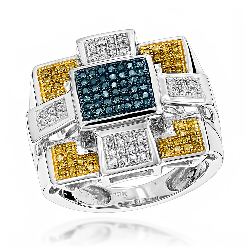 Hip Hop Rings: Blue Yellow Diamond Ring 10K 0.55ct