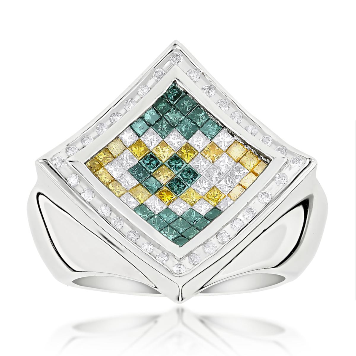 Hip Hop Rings: Mens Color Diamond Ring 14K 2.50ct