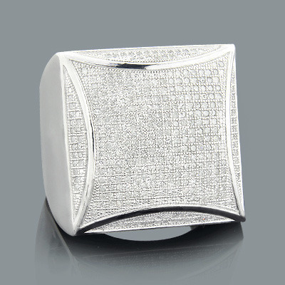 Hip Hop Rings: Mens Diamond Ring 1.07ct Sterling Silver
