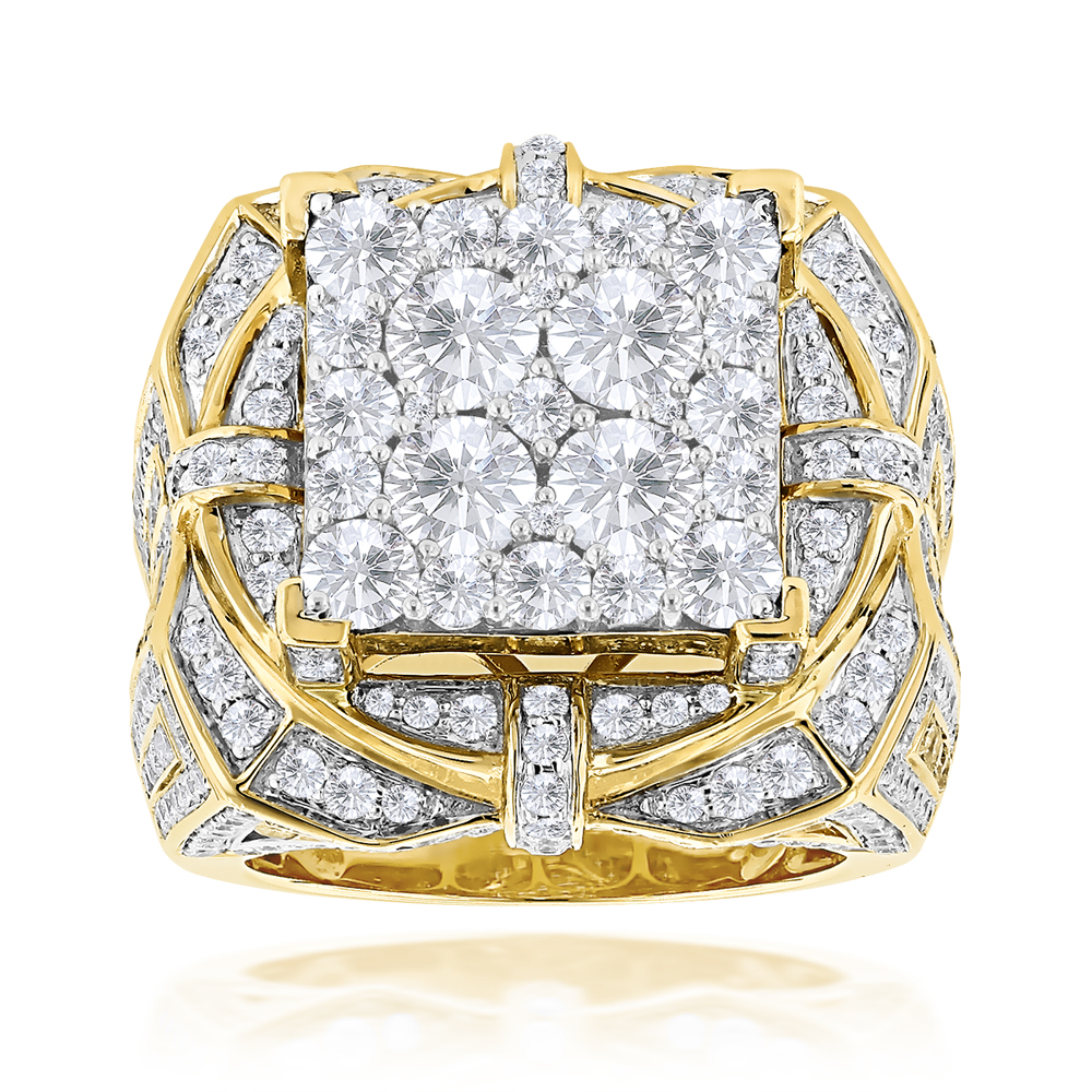 Hip Hop Rings: Unique Mens Diamond Ring 10ct 14K Gold