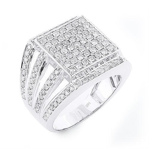 Hip Hop Square Diamond Mens Ring 2.3ct 14K Gold