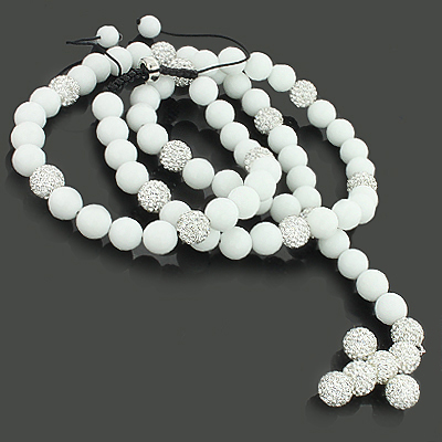 Hip Hop Style Disco Ball Rosary Necklace with Sparkling Rhinestones