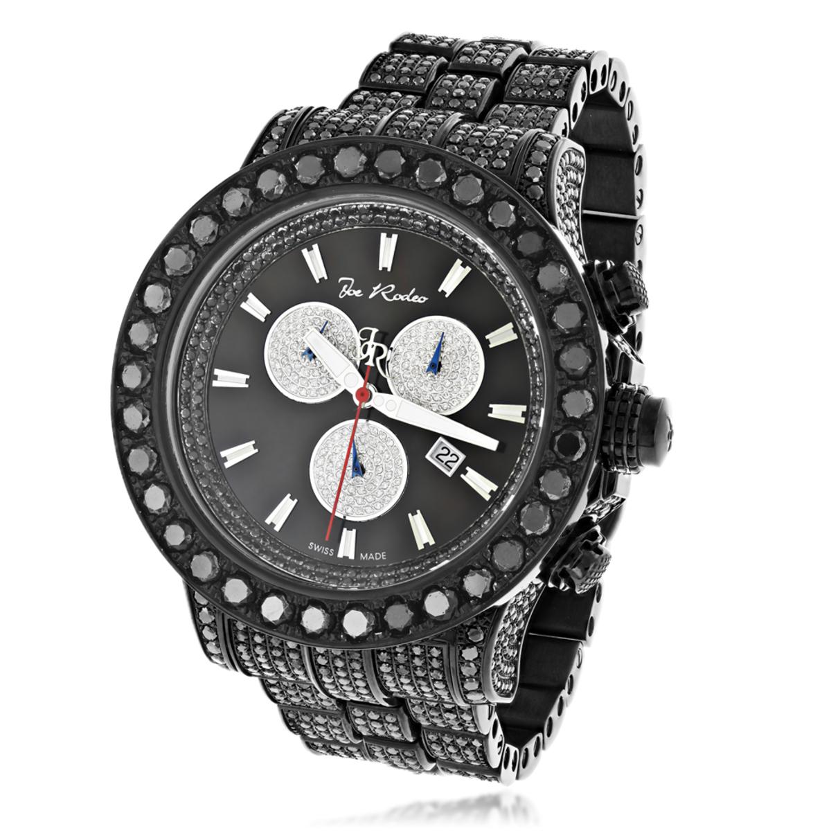 Hip-Hop Watches: Custom Joe Rodeo Mens Black Diamond Watch 36.7ct