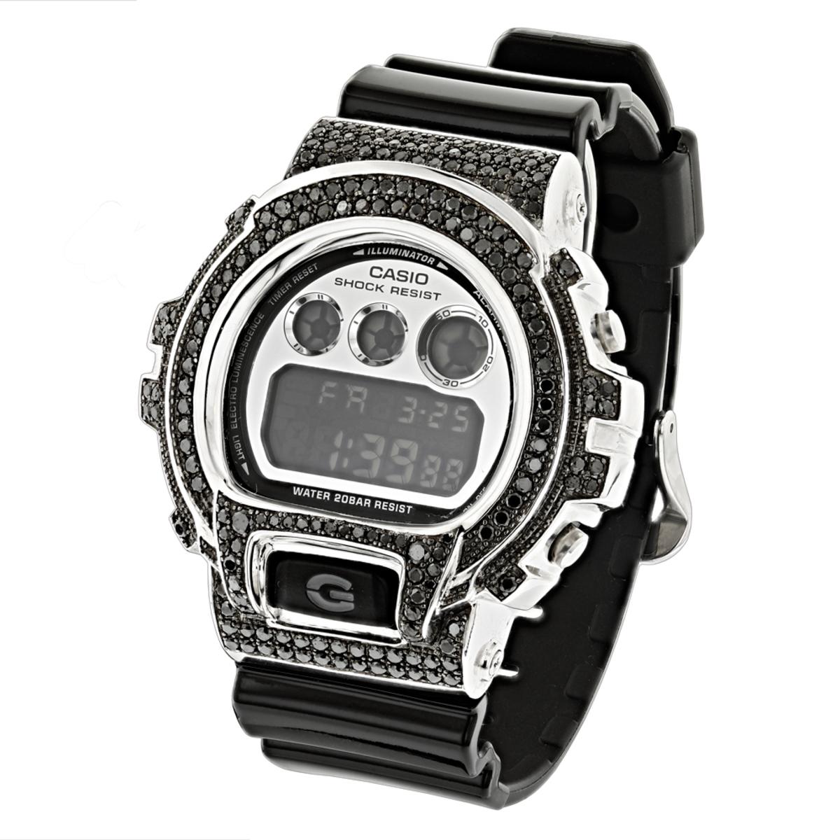 Hip Hop Watches for Men: Casio G-Shock DW6900 Black Diamond Bezel Watch 4ct