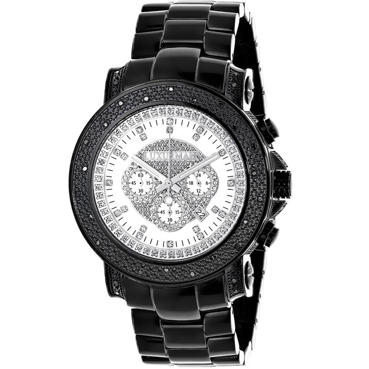 Hip Hop Watches: Oversized Luxurman Escalade Mens Black Diamond Watch 3/4ct