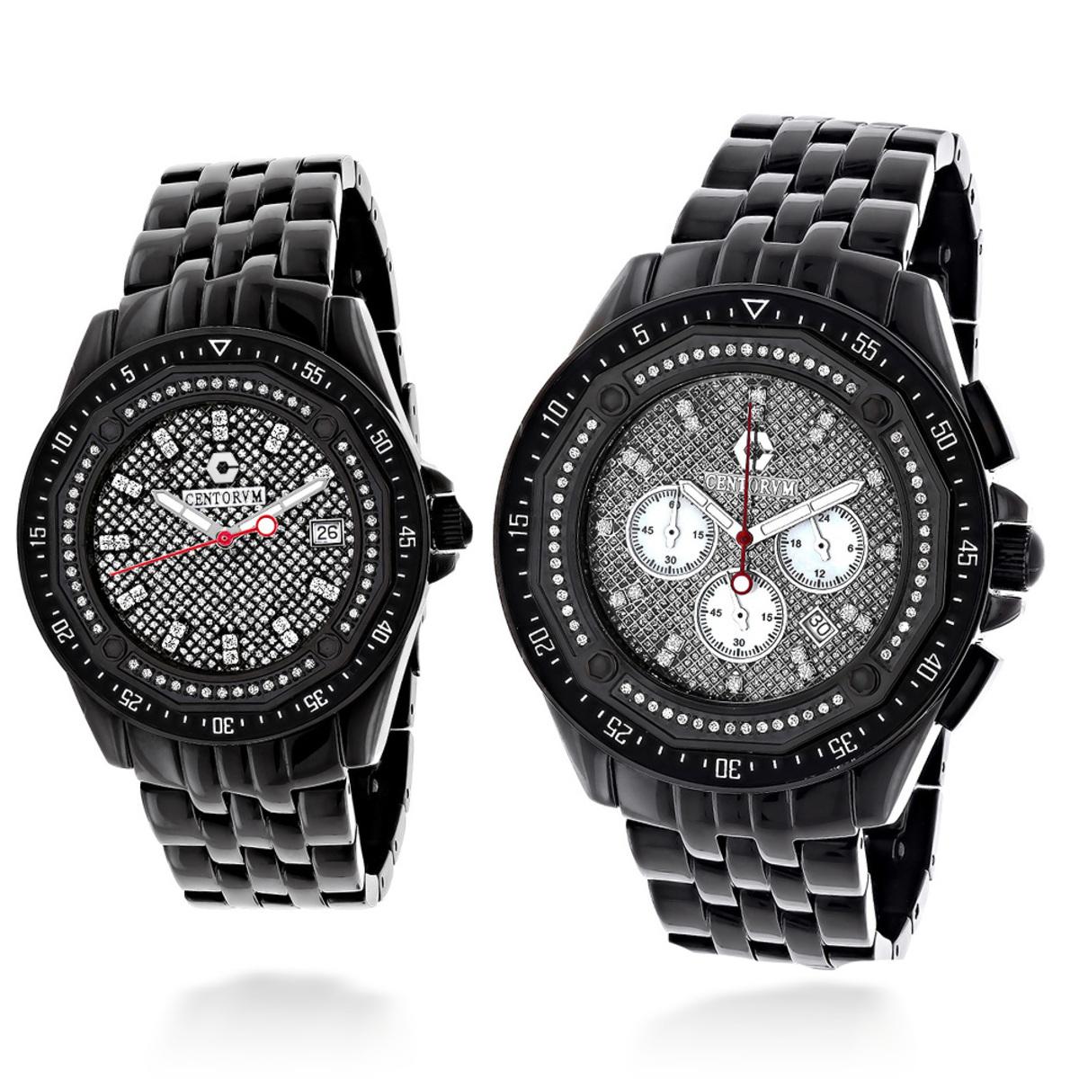 His and Hers Watches: Centorum Chronograph Diamond Watch Set 1.05ct Black