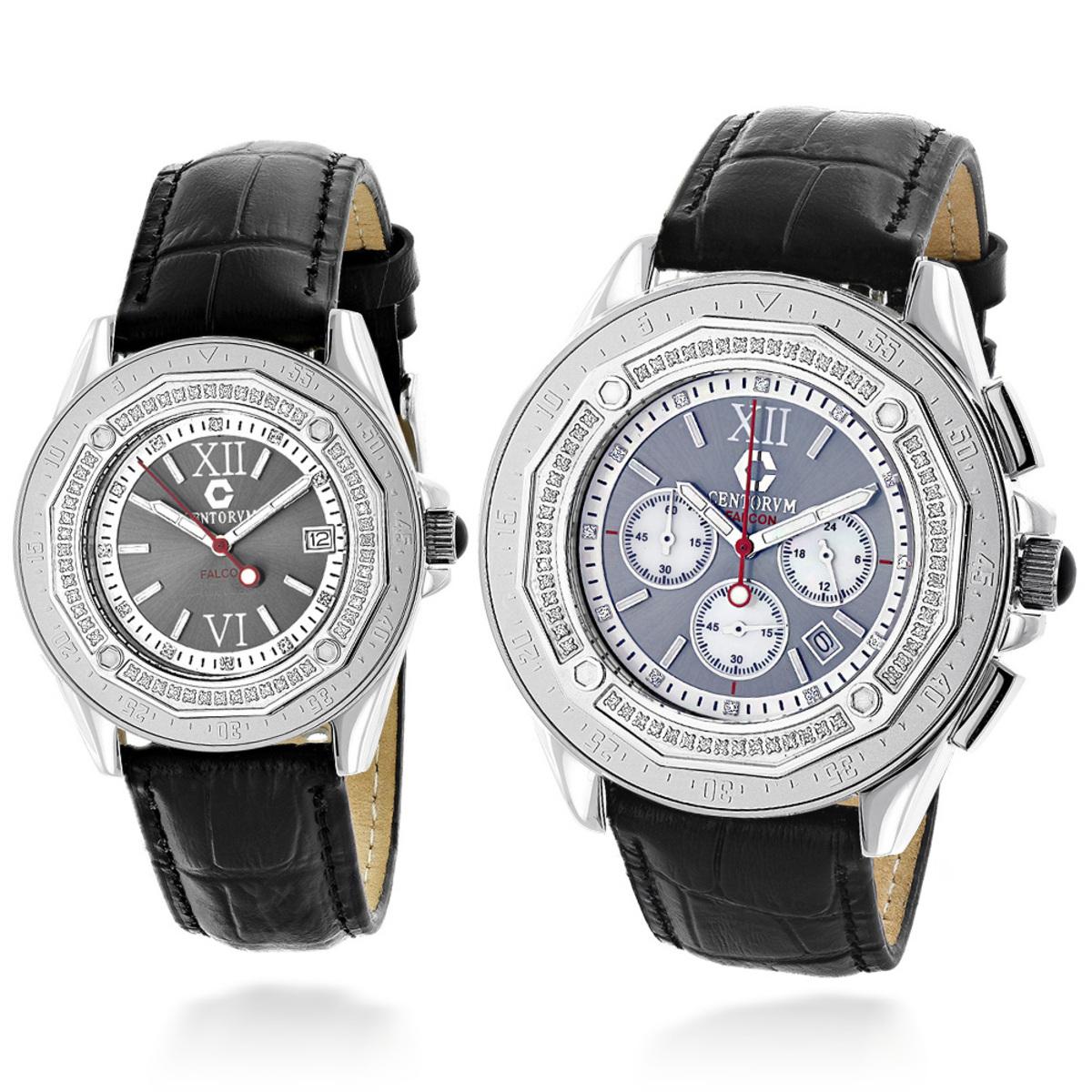 His and Hers Watches: Diamond Centorum Matching Watch Set 1.05
