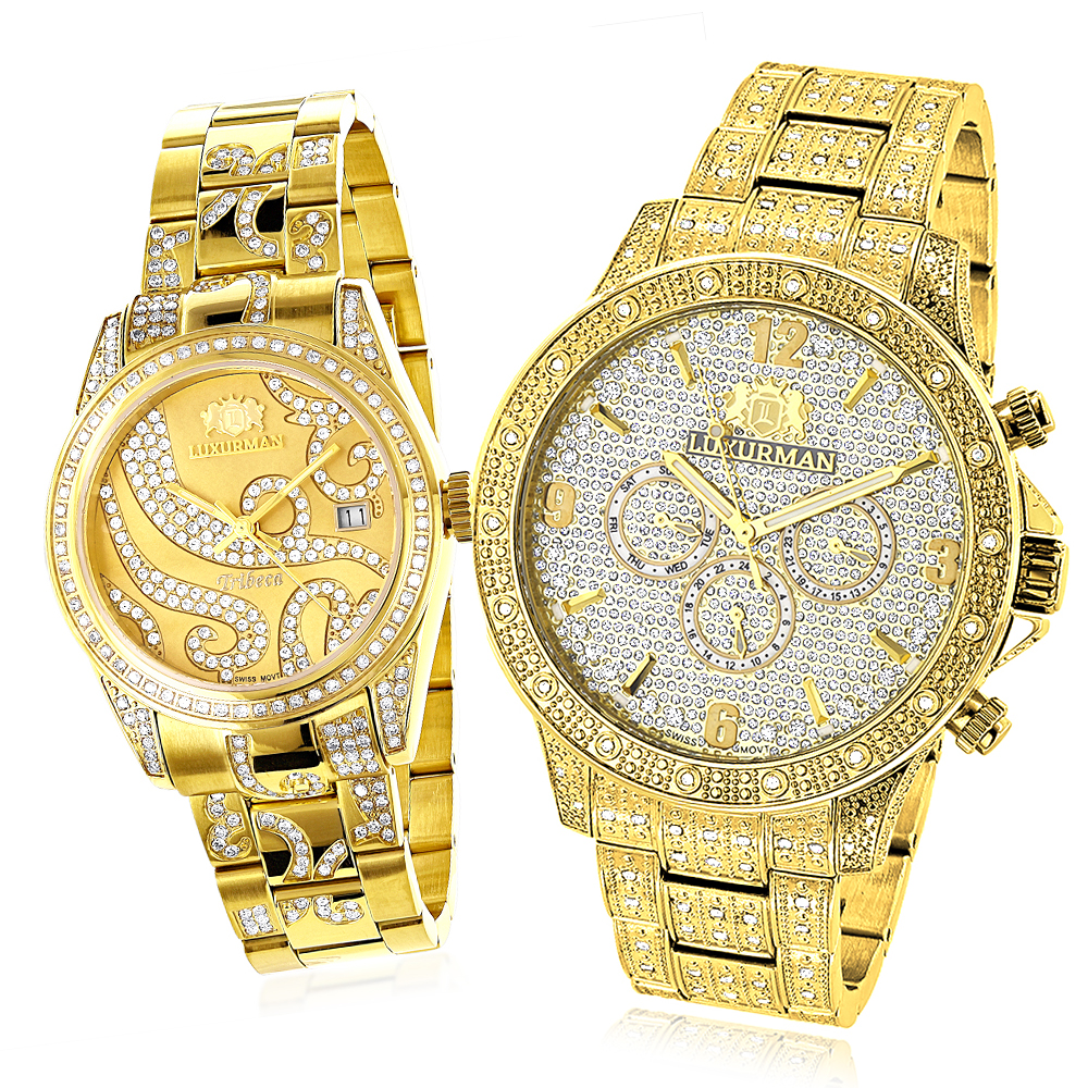 His and Hers Watches: Luxurman Diamond Watch Set Yellow Gold Plated 4.25ct