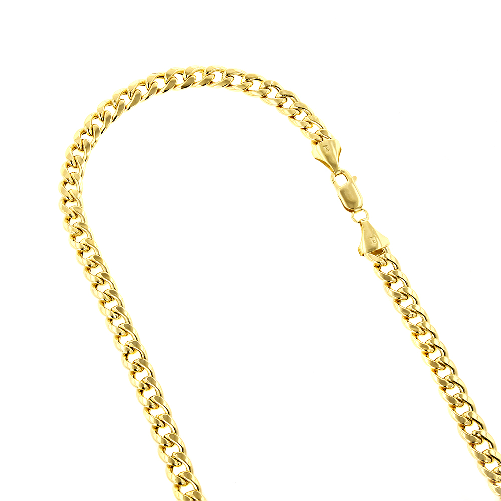 Hollow 10k Gold Cuban Link Chain For Men Miami 9mm Wide