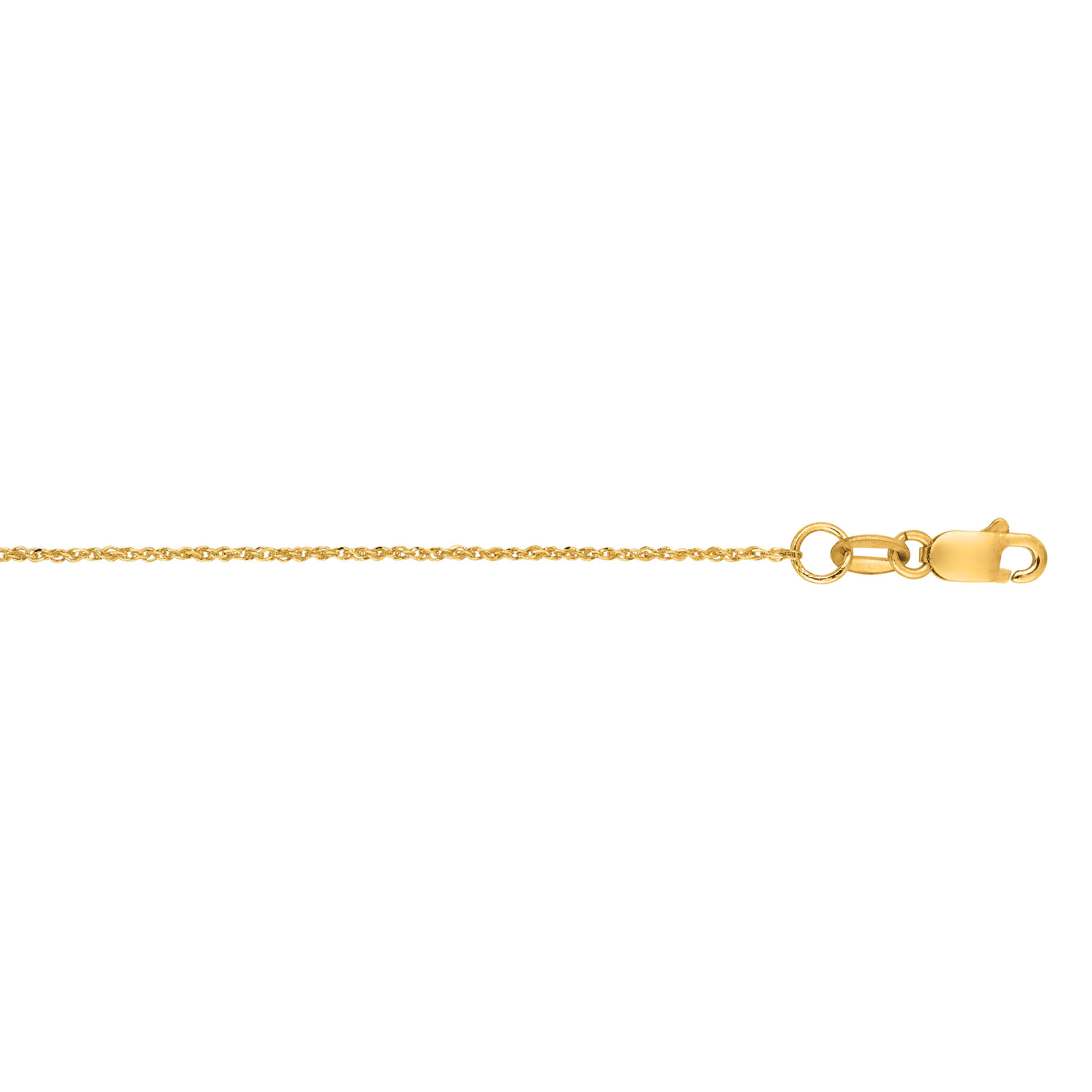 Hollow 10k Gold Ropa Chain For Women 0.9mm Wide