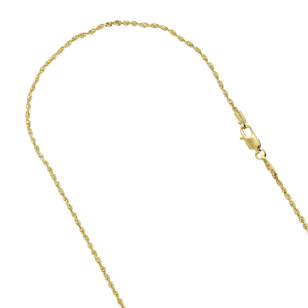 Hollow 10k Gold Rope Chain For Men & Women Sparkle 2mm Wide