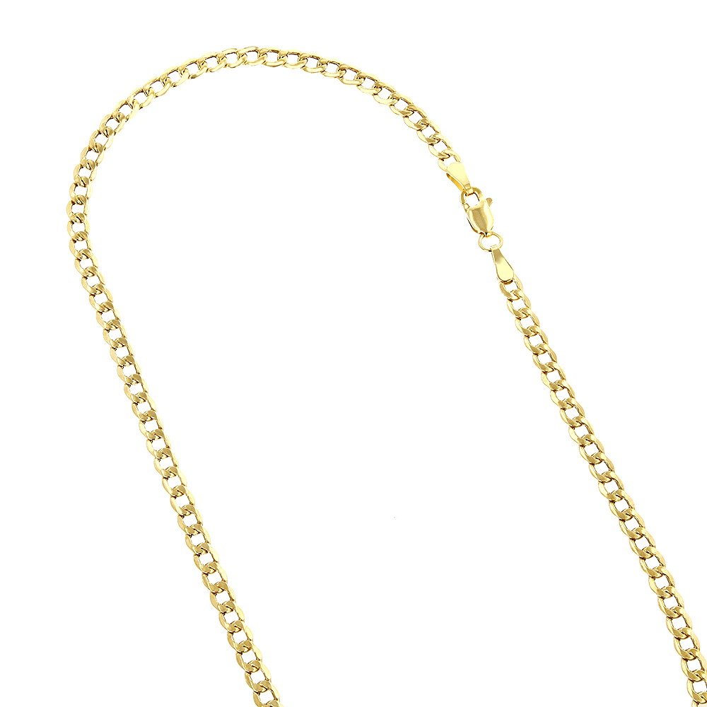 Hollow 14k Gold Curb Chain For Men & Women 6mm Wide