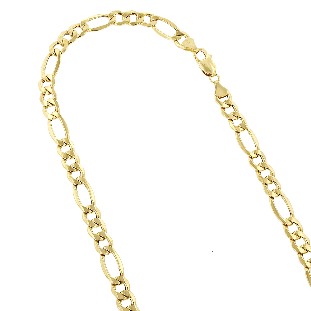 Hollow 14k Gold Figaro Chain For Men 6.5mm Wide