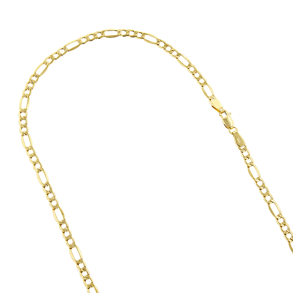 Hollow 14k Gold Figaro Chain For Men & Women 3.5mm Wide
