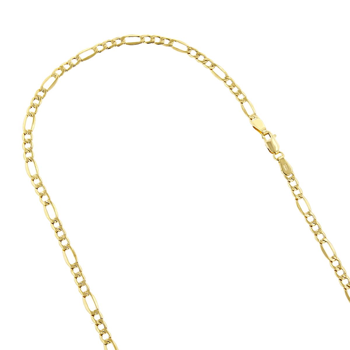 Hollow 14k Gold Figaro Chain For Men & Women 5.5mm Wide