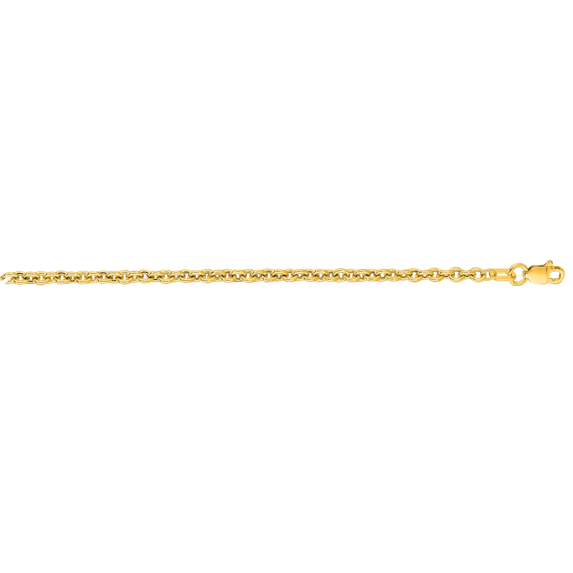 Hollow 14k Gold Forsantina Chain For Men & Women 3mm Wide