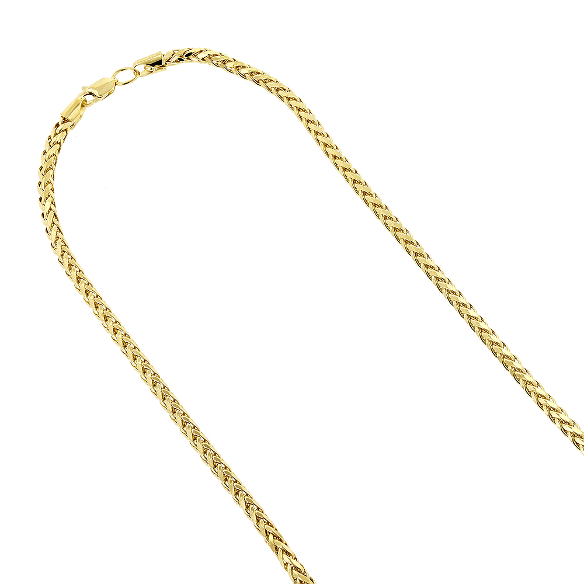 Hollow 14k Gold Franco Chain For Men & Women Round Diamond Cut 2.7mm