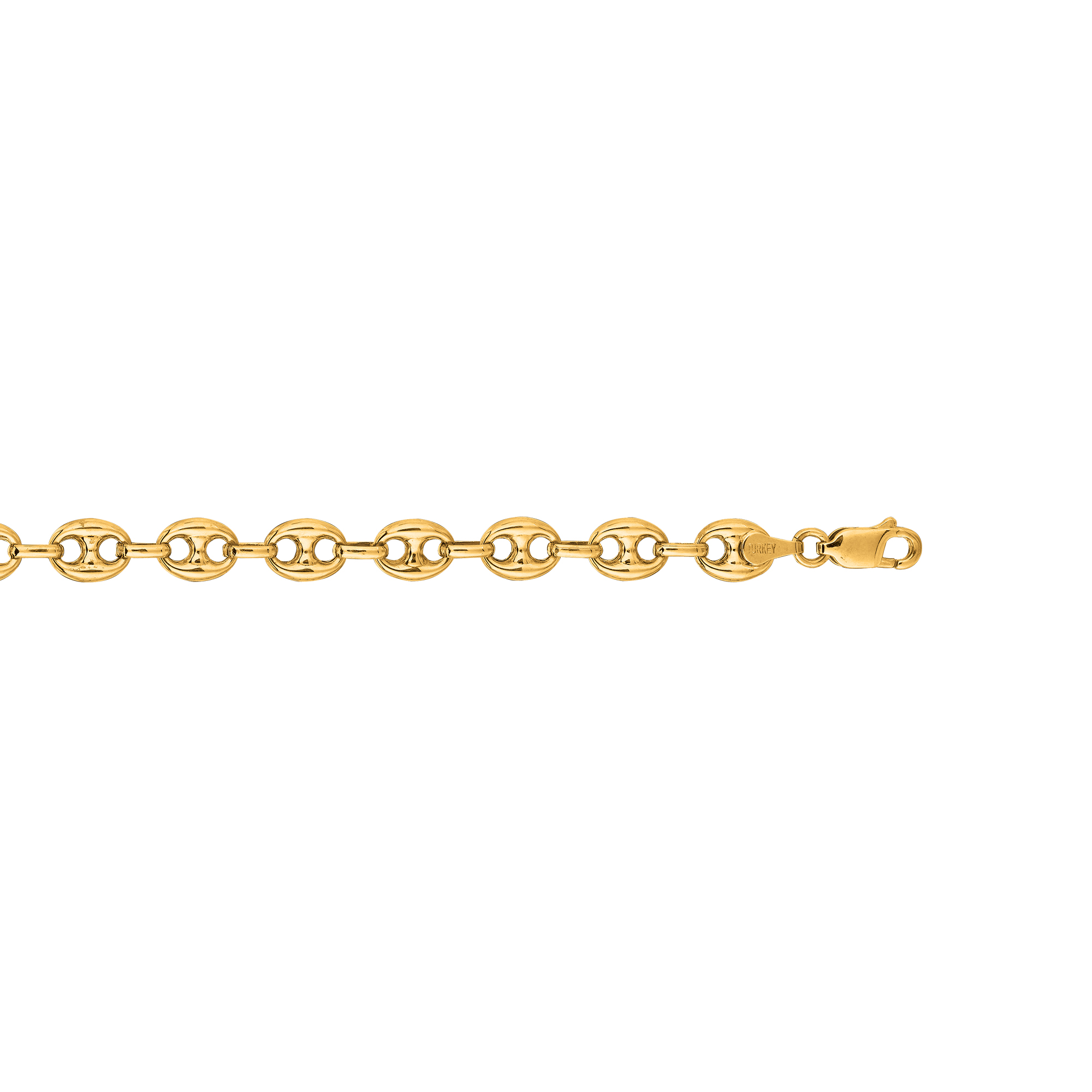 Hollow 14k Gold Gucci Chain For Men & Women Mariner Puffed 7mm Wide