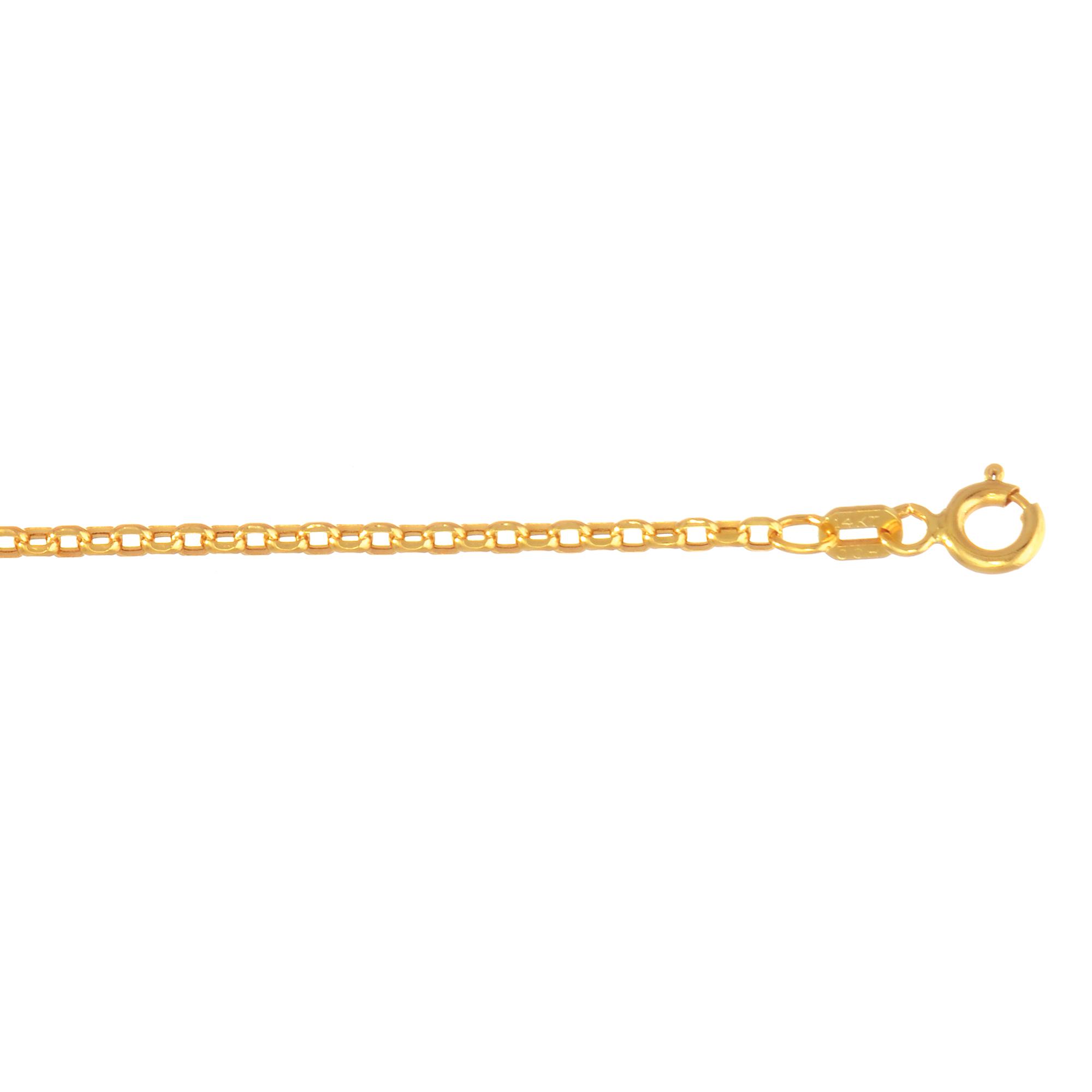 Hollow 14k Gold Rolo Chain For Men & Women Diamond Cut 1.5mm Wide