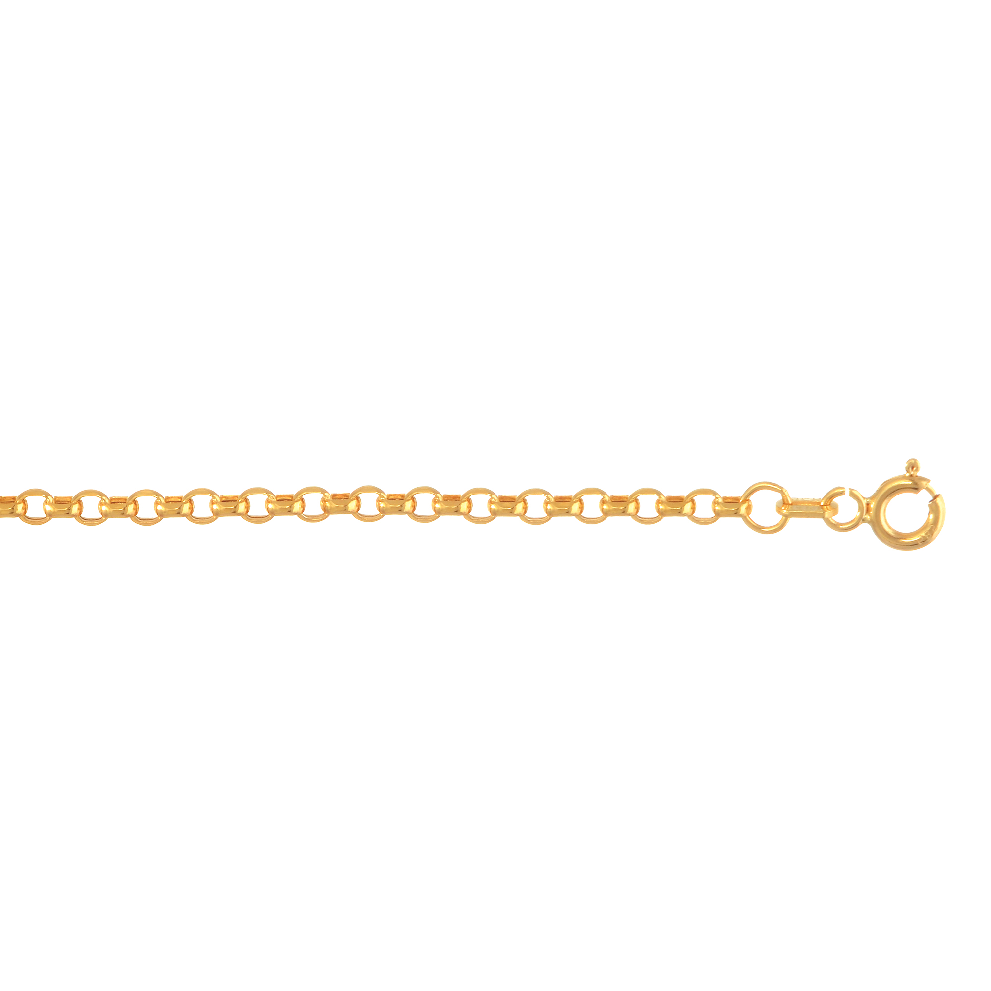 Hollow 14k Gold Rolo Chain For Men & Women Diamond Cut 2mm Wide