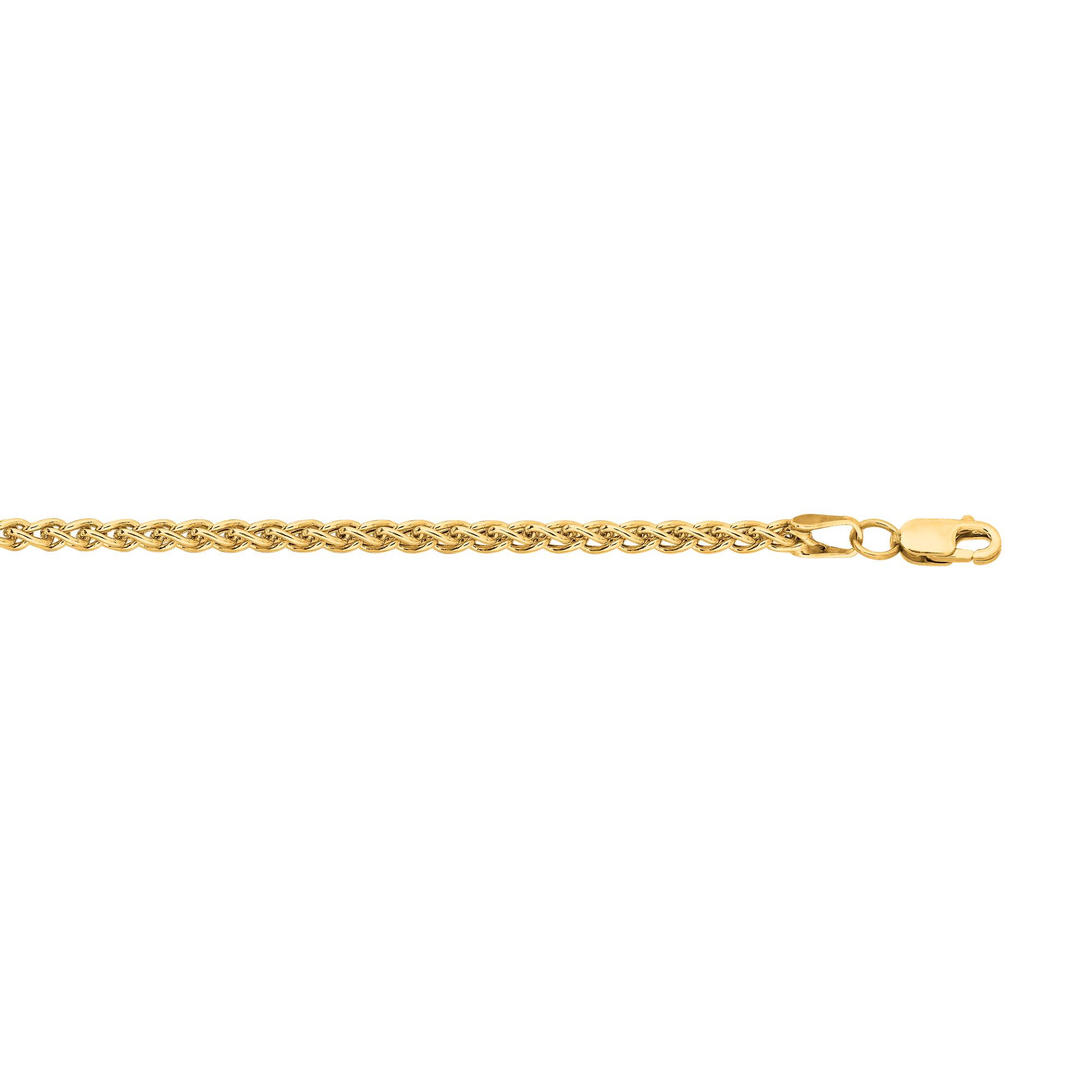 Hollow 14k Gold Wheat Chain For Men & Women 2.8mm Wide