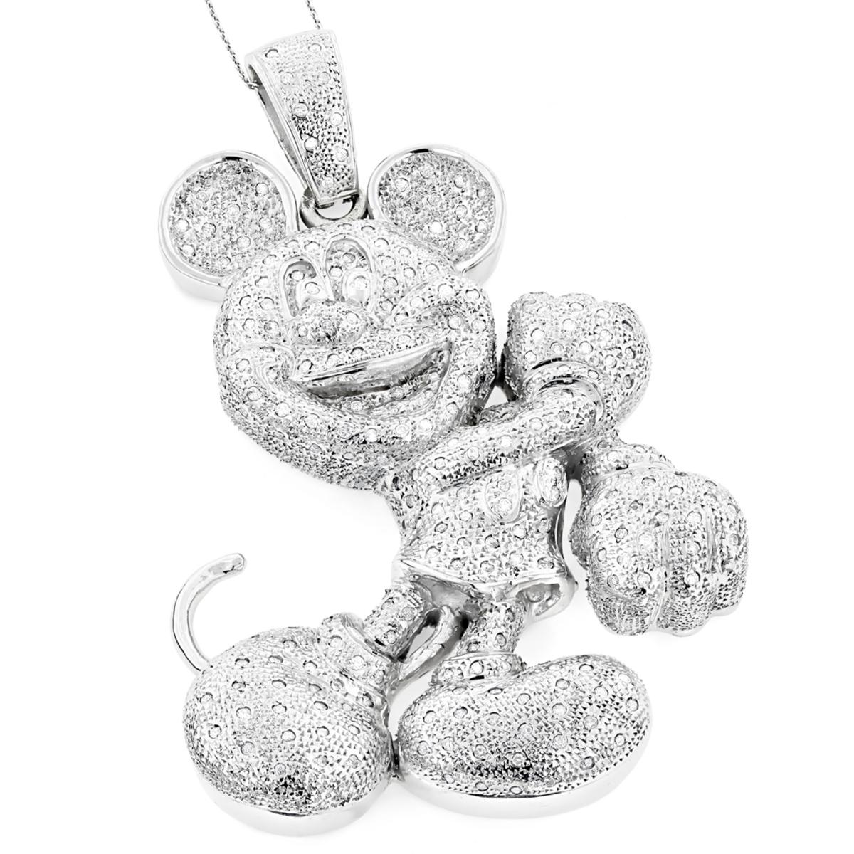 Huge 10K Diamond Mickey Mouse Pendant 4ct