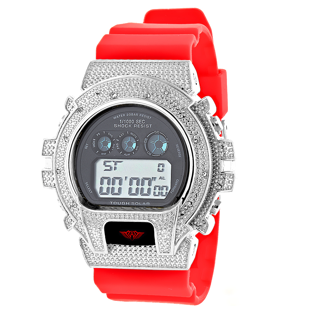 Ice Plus Watch with Diamonds: Gshock Style Watches 0.12ct