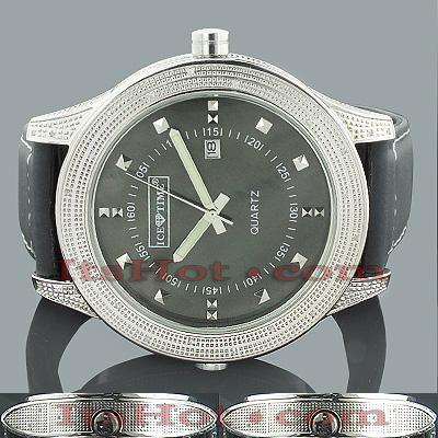 Ice Time Diamond Watch 0.75ct Black MOP Double Decker