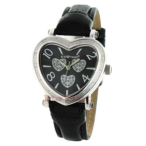 Ice Time Womens Diamond Heart Shaped Watch .15ct Black