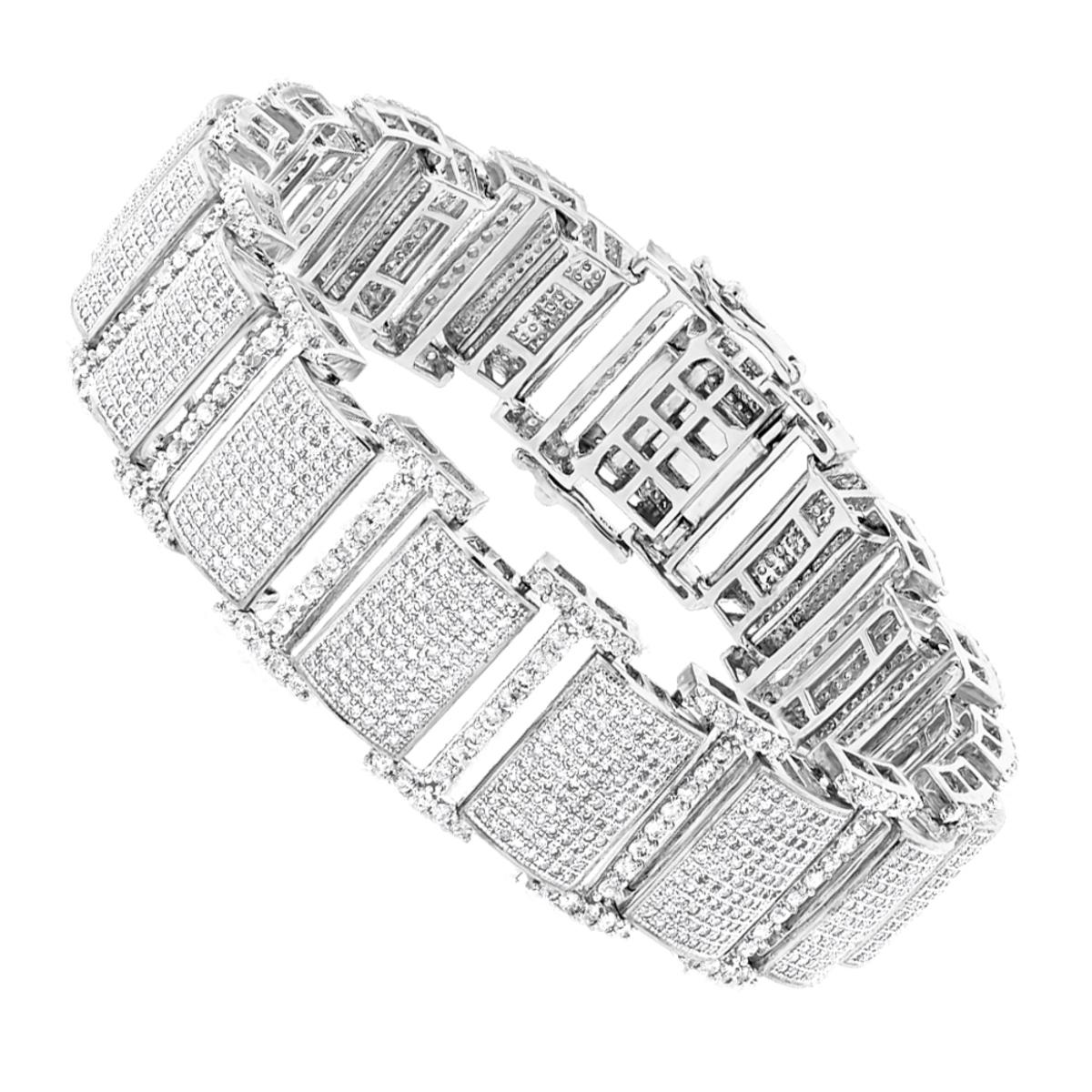 Iced Out Bracelets: 10K Pave Diamond Bracelet for Men 13.78