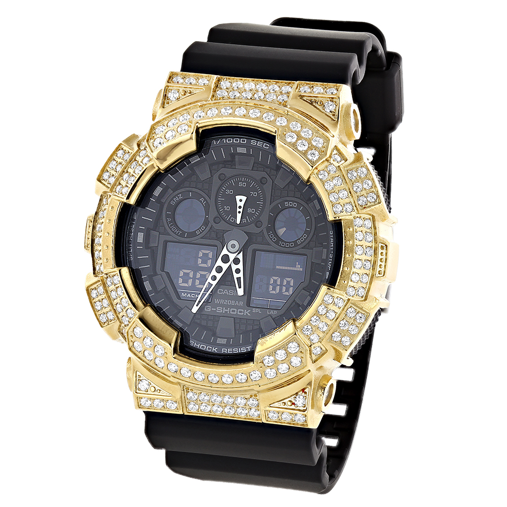 ICED OUT G-SHOCK Watch White CZ Crystals Casio GA100