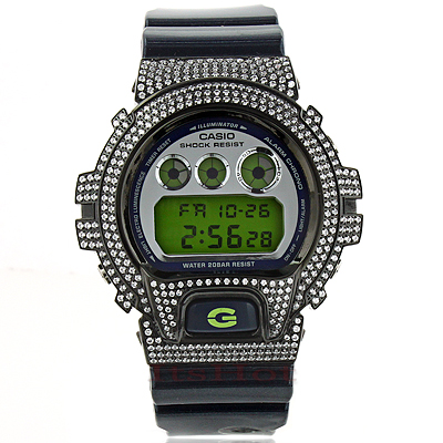 Iced Out G-Shock Watch with White Crystals DW-6900
