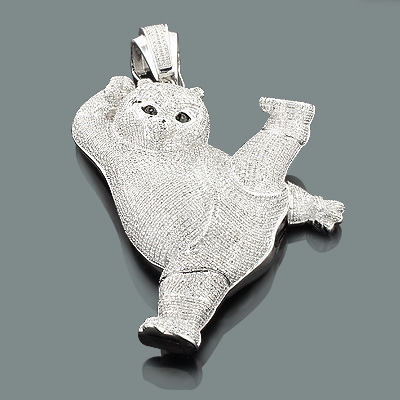 Iced Out Kung Fu Panda Pendant in Sterling Silver 5.23 Carats of Diamonds