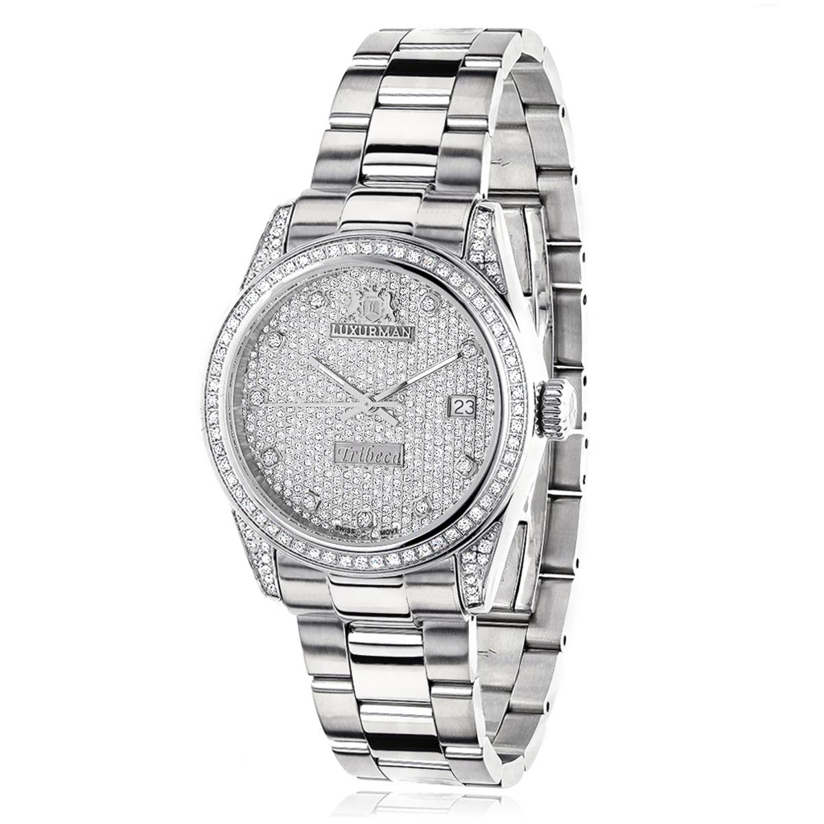 Iced Out Luxurman Women's Diamond Watch Tribeca 1.5ct