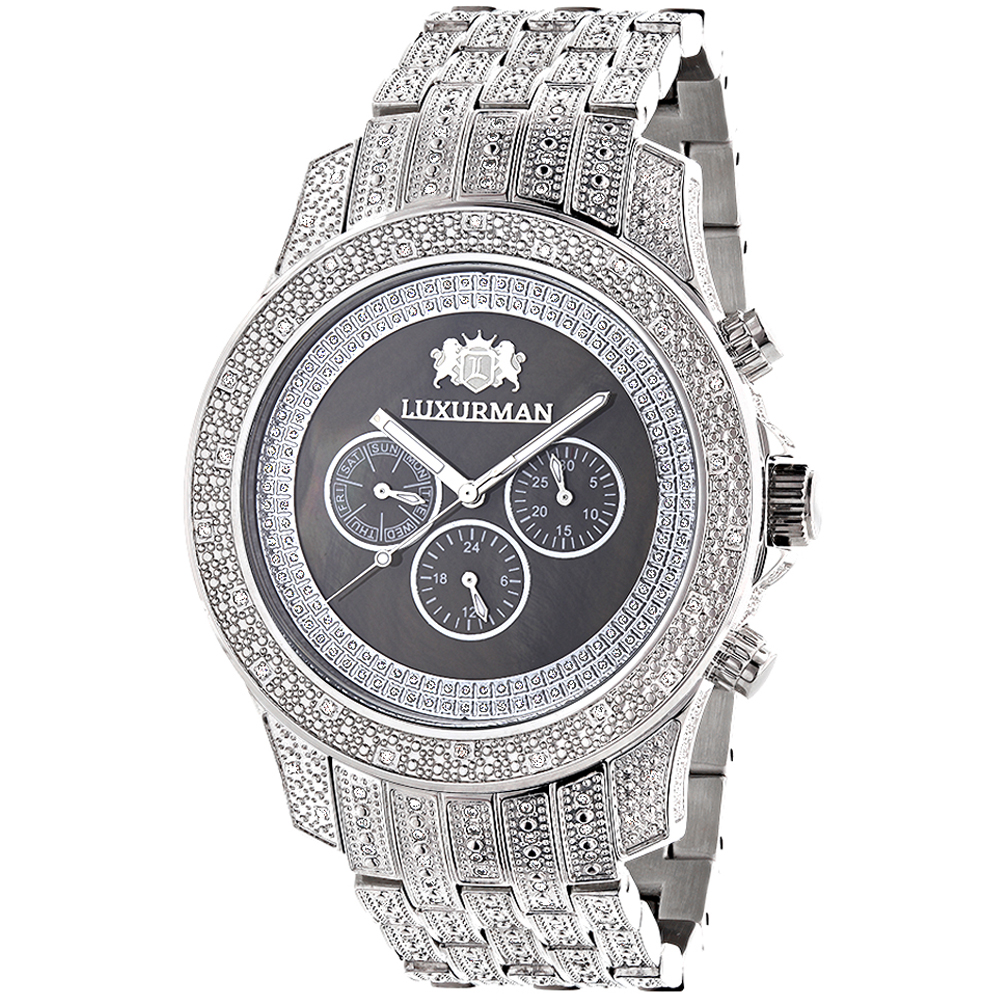Iced Out Mens Diamond Watch by LUXURMAN 1.25ct Black