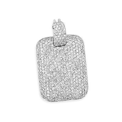 Iced Out Pendants 14K Gold Diamond Dog Tag Pendant 3.61ct