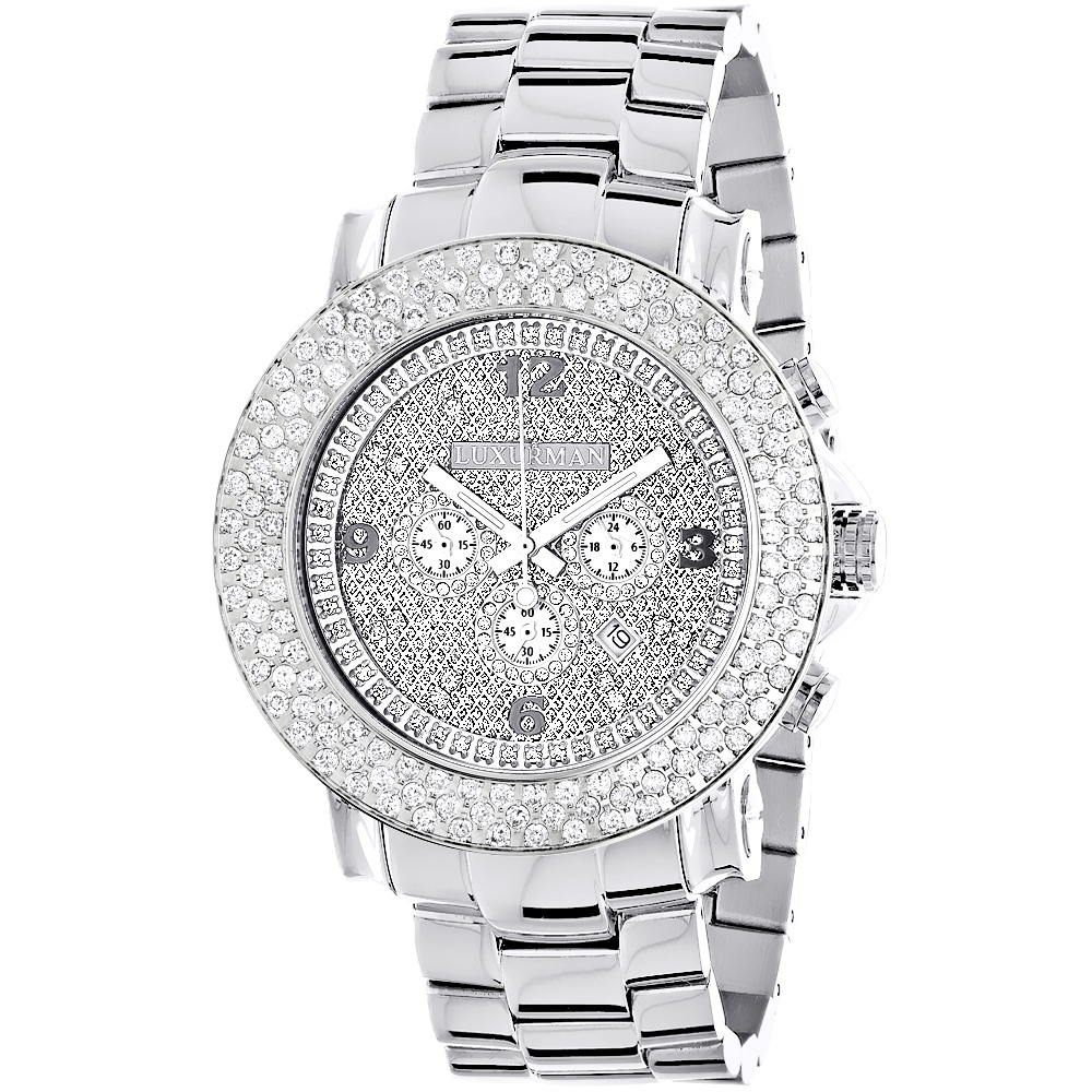 Iced Out Watches: Large Diamond Bezel Watch for Men Luxurman Escalade 6ct