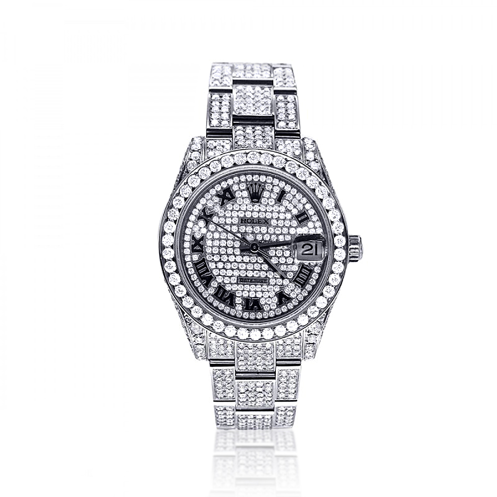 Iced Out Watches: Pre-Owned Ladies Diamond Rolex Datejust Watch 12ct