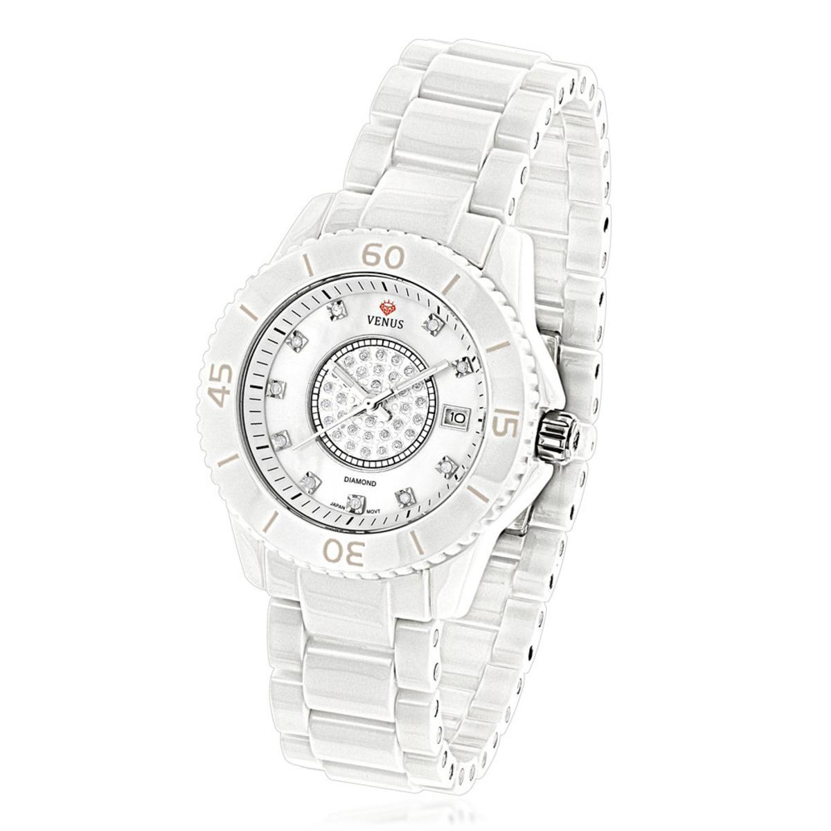 Icetime Stainless Steel & White Ceramic Case 0.15ct Ladies Diamonds Watch