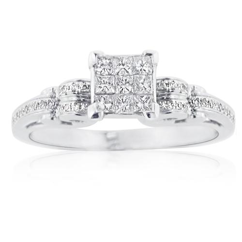 Inexpensive 14K Gold Princess Cut Diamond Engagement Ring 1ct