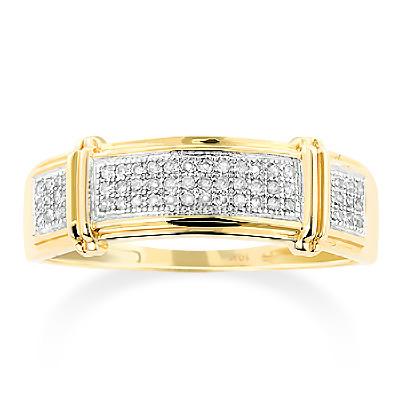 Inexpensive Mens Diamond Wedding Band 0.18ct 10K Gold