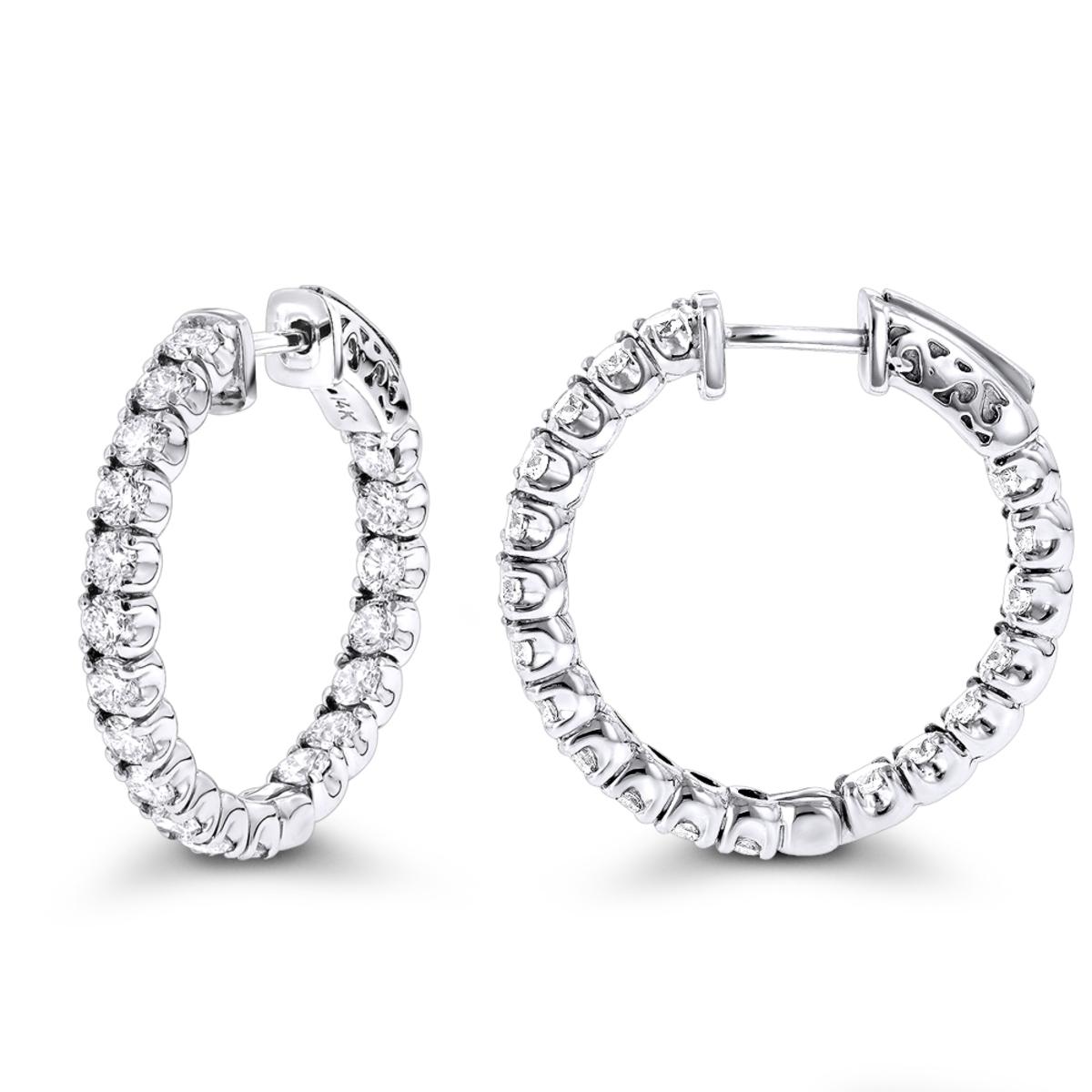 Inside Out Classic Diamond Hoop Earrings 2.75ct 14K Gold