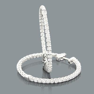 Inside Out Designer Diamond Hoop Earrings 2.64ct 14K Gold