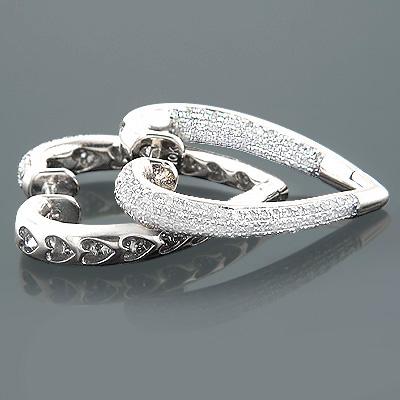 Inside Out Diamond Heart Earrings 1.35ct 14K Gold Hoops