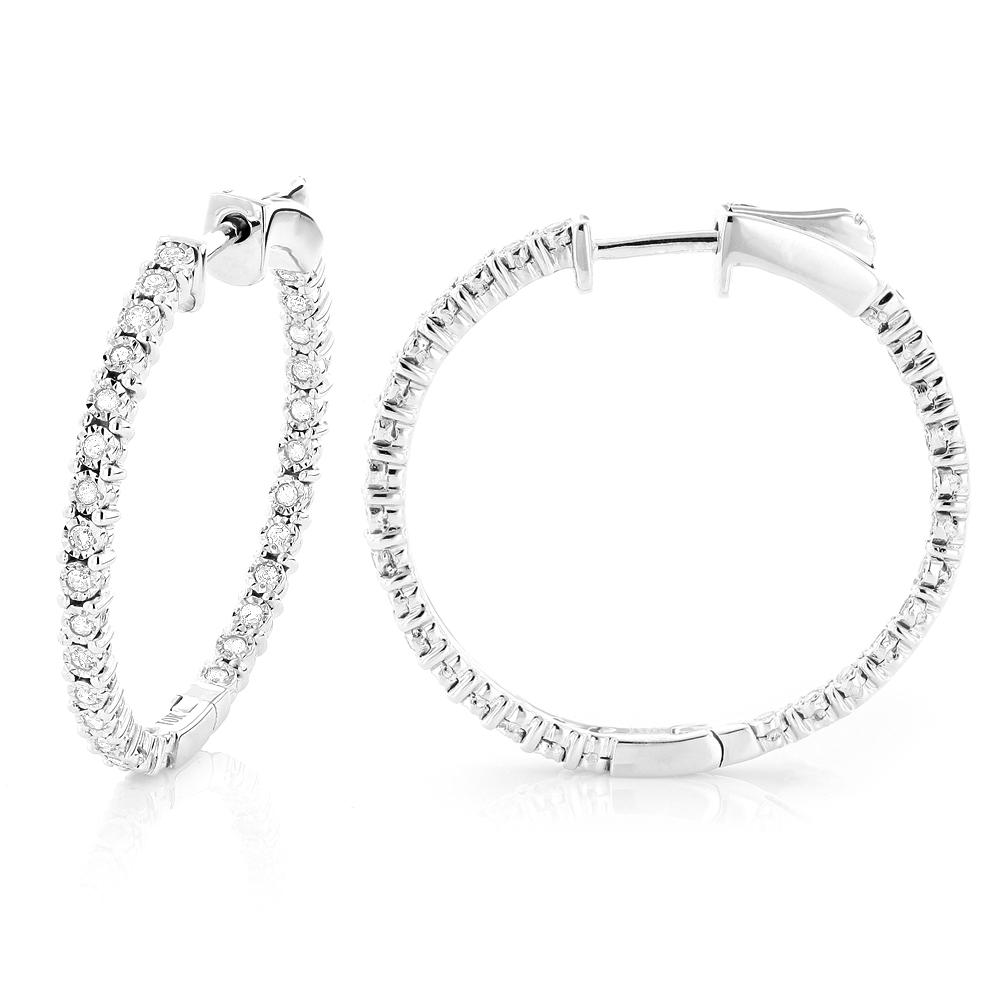 Inside Out Diamond Hoop Earrings 0.5ct 14K Gold