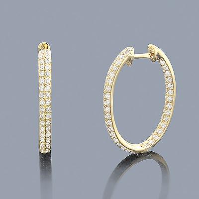 Inside Out Diamond Hoop Earrings 1.42ct 14K Gold