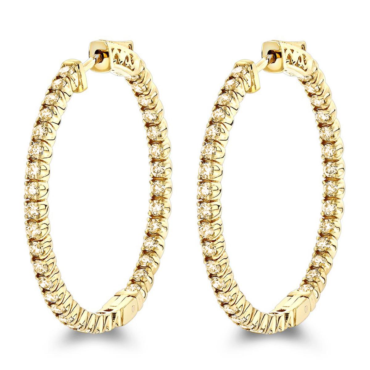 Inside Out Yellow Diamond Hoop Earrings in 14k Gold by Luxurman 2.2ct.