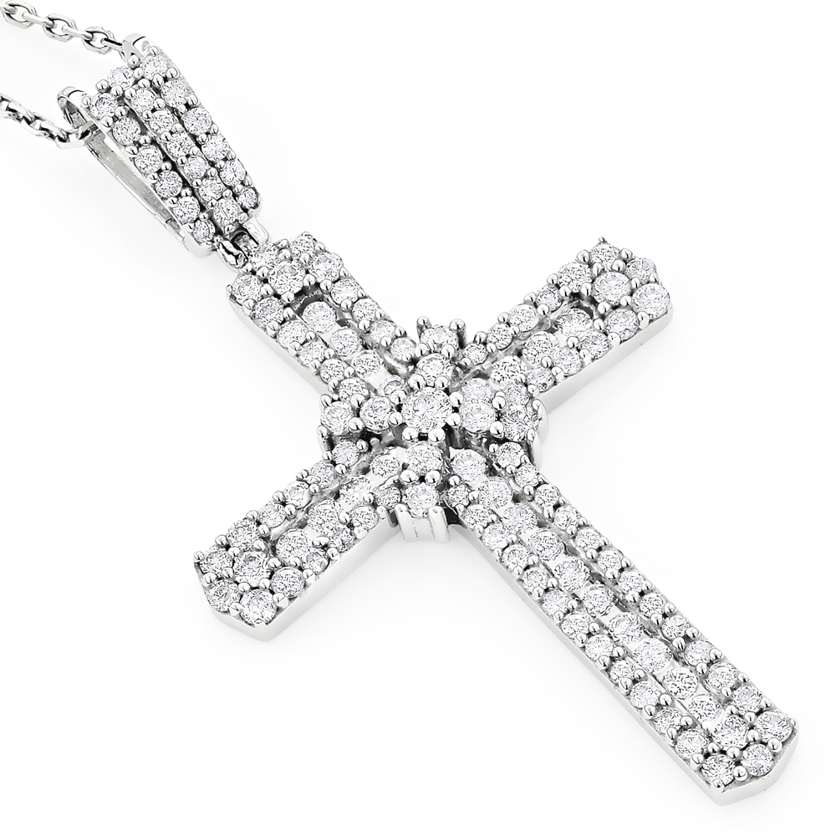 Intricate 14K Gold Designer Diamond Cross Pendant 1.48
