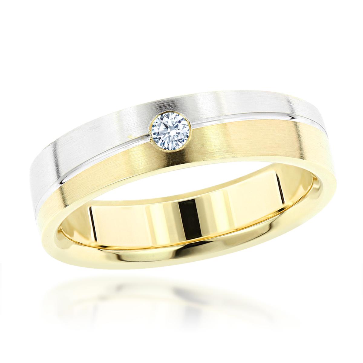 Inverse Mens Diamond Wedding Band 14K Gold 0.06ct