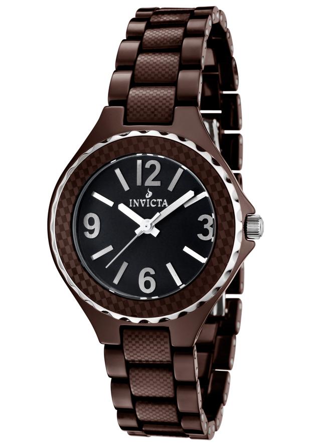 Invicta Watches: Women's Ceramic Black Dial Silver Tone Bezel Brown Ceramic 1160